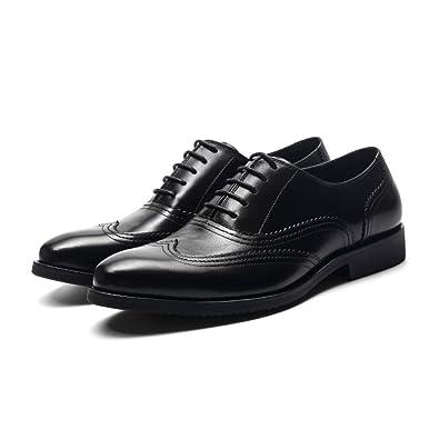 LYZGF Hommes Gentleman Affaires Occasionnels Mode Mariage Dentelle Chaussures en Cuir,Brown-38