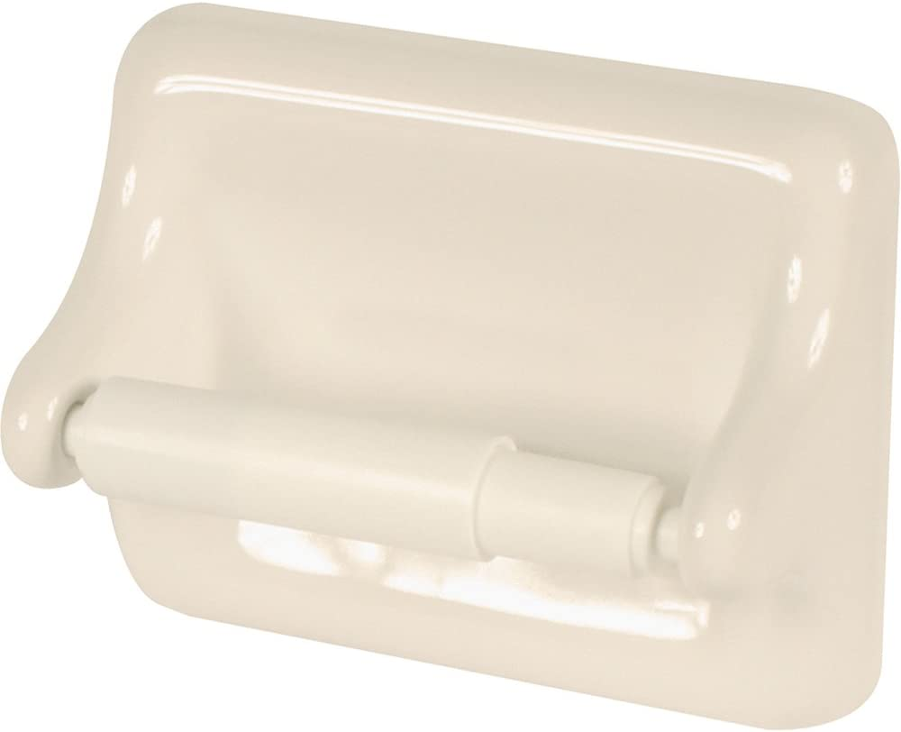 Apple Creek Standard Ceramic Bathroom Toilet Paper Holder, Bone