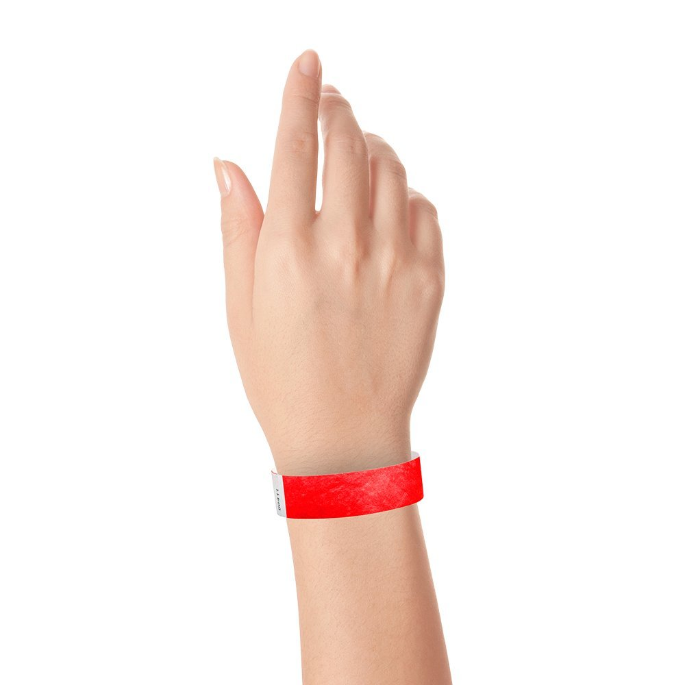 WristCo Neon Red 3/4'' Tyvek Wristbands - 500 Pack Paper Wristbands For Events by Wristco (Image #4)