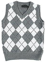 Fouger Little Boys\' Diamond Sweater Vest 10 Grey