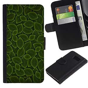 Paccase / Billetera de Cuero Caso del tirón Titular de la tarjeta Carcasa Funda para - Green Leaf Nature Pattern - Samsung Galaxy S6 SM-G920