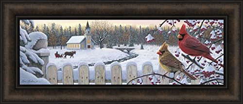 White Crimson Morning by Kim Norlien 12x28 Cardinals Birds Church Picket Fence Snow Winter Horse Sleigh Framed Art Print ()