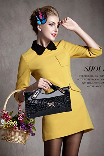 Black Working Leather Casual Leather Crocodile Cross Messenger Bag Women High Patent Black Pattern Shoulder Hollwald bag Handbag Handbags Quality Patent OL w1P0IqHx