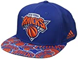 NBA New York Knicks Men's Tail Sweep Flat Brim Snapback Hat, Blue, One Size