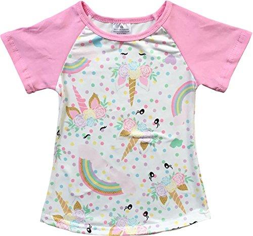 (Little Girl Kids Unicorn Rainbow Flower Raglan Cotton Shirt Top Tee T-Shirt Pink 8 XXXL (201345))