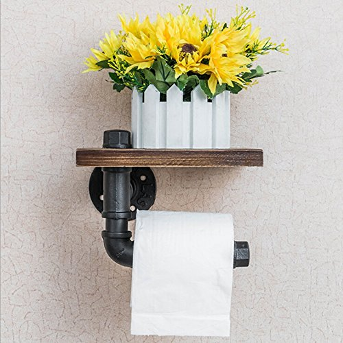 Candora Industrial Pipe Toilet Paper Roll Holder Towel Dispenser Storage Rustic Style Tissue Hanger Black Malleable Metal Iron & Brown Wood Wall Mounted Bathroom Paper Shelf