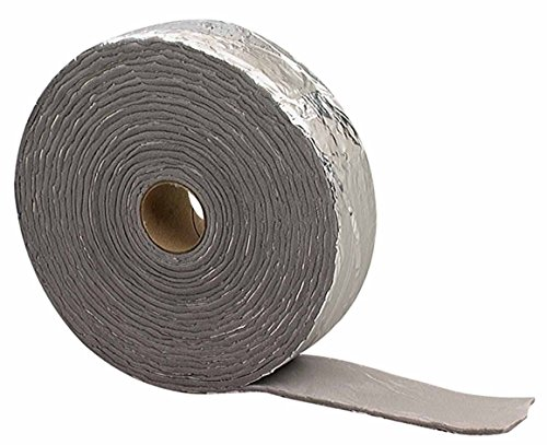 M-D Building Products 02394 M-D Self-Adhesive Pipe Insulation Wrap 2 in Od X 30 Ft L X 1/8 in T, PVC Foam, Black/Silver