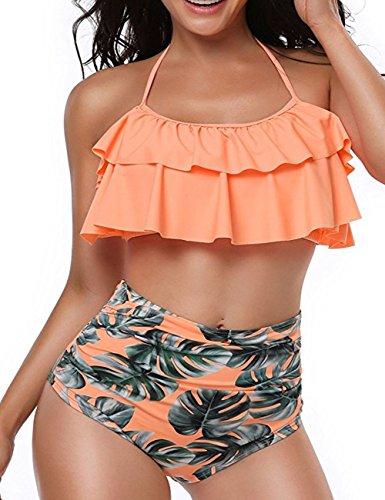 2 Piece Halter Suit - ORsuis Women Bathing Suits Swimsuit Flounce High Waisted Bikini Two Piece Swimsuit Halter Neck