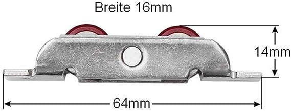 68x16mm Laufrollen Schiebet/ürrollen Rollenbeschl/äge f/ür Laufschienen bis 3mm Schiebet/ür Bodenschiene max 30Kg