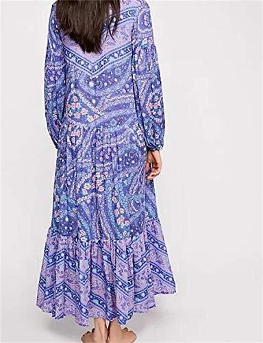 a Abito lungo pieghe V a lunghe stampato scollo Moda e Abito Abito a Abito a Lizes Purple Abito maniche ampio sexy CfqwW8