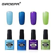 Girdear Soak Off Gel Nail Polish Kit, with SUNMini LED Lamp, 10pcs Removers & 10 Pcs Cleanser Wraps, Buffer Files, and Base Top Coat Set 4 Colors Nail Art Gift DIY Set #C025