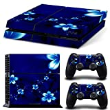 TURXIN PS4 Console and DualShock 4 Controller Skin Set - Hawaiian Blue Flowers - PlayStation 4 Vinyl