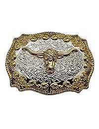 Silver Golden Longhorn Bull Cowboy Western Belt Buckle