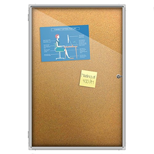 Thornton's Office Supplies Indoor Aluminum Frame Wall Mount Enclosed Cork Bulletin Board with Locking Door (36 x 24) by Thornton's Office Supplies