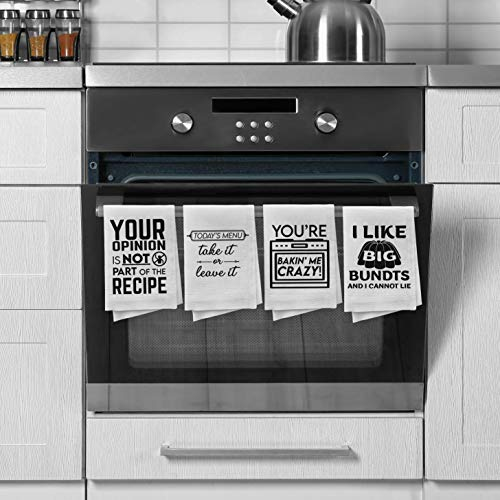Apron Daddy Kitchen Towels Set Decorative Funny Dish Towels That Make A Funny Housewarming Gift Pack Of 4 Cute Hand Towels Printed With Unique Designs 100 Cotton Great Cooking Gift For Mom Pricepulse