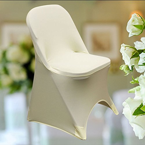 SPRINGROSE 100 Ecoluxe Ivory Spandex Stretch Folding Chair Covers | Sleek, Resilient Polyester & Elastic Spandex | for Wedding, Bridal Showers, Anniversary Party, Receptions, Celebrations, More by SPRINGROSE (Image #5)
