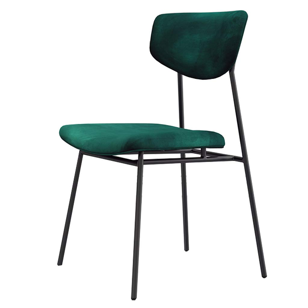 Green Pub Modern Dining Chair with Comfortable Back Rest and Upholstered Padded Seat Stool Kitchen Barstools for Kids Adults - Velvet Fabric Black Metal Legs