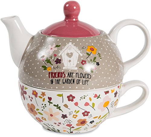 Pavilion Gift Company 55206 Friends Are Flowers In The Garden Of Life Teapot and Cup, 15oz