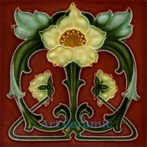 - Art Nouveau Ceramic Tile 6 Inches Reproducction #0019