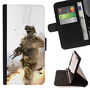 DEVIL CASE - FOR Apple Iphone 5 / 5S - Soldier Battle Field - Style PU Leather Case Wallet Flip Stand Flap Closure Cover