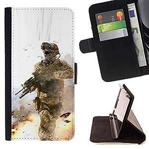 - Soldier Battle Field - - Monedero PU titular de la tarjeta de cr????dito de cuero cubierta de la caja de la bolsa FOR Samsung Galaxy S3 III I9300 RetroCandy