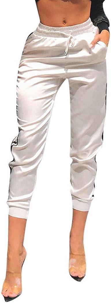 Pantalones A Rayas Para Esencial Mujer Pantalones Casuales Con Cordon Liso Satinado Pantalones Deportivos Con Bolsa Moda 2020 Ropa Para Mujer Color Blanco One Size M Amazon Es Ropa Y Accesorios