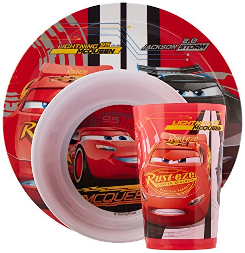 Zak Designs CRSG-0391 Cars 3 Plate-Bowl-Tumbler 3 Piece Windowbox -