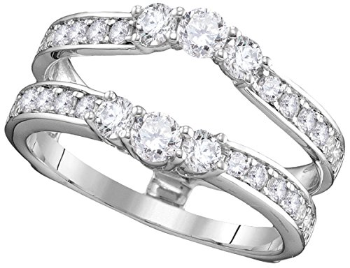 14kt White Gold Womens Round Diamond Ring Guard Wrap Solitaire Enhancer 1.00 Cttw (I1-I2 clarity; H-I color)