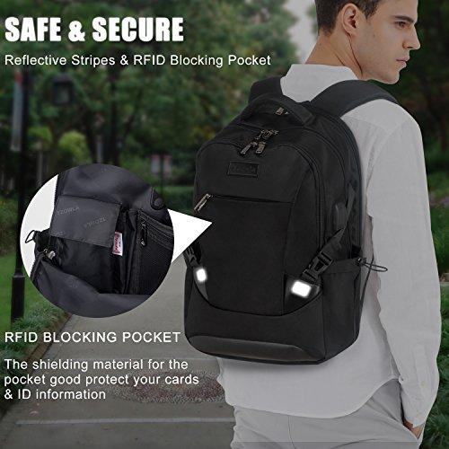 Tzowla Travel Laptop Backpack, Waterproof Business Work Backpack with USB Charging Port & Headphone Port for Men Women Durable Netbook Computer Backpack Bag Fits 17-Inch Laptop Notebook, Black by Tzowla (Image #5)