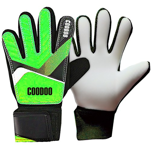 Kids & Youth Soccer Goalkeeper Gloves, Junior Indoor & Outdoor Goalie Gloves for Girls and Boys, 3 mm Strong German Latex Palm, Supportive Wrist Straps, Secure and Comfort (Green, Size - Gloves Soccer Best Goalie