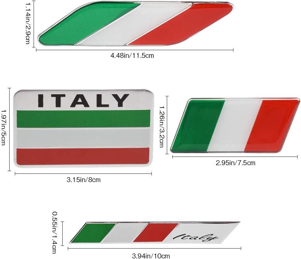 VDARK 5pcs Car Alloy Aluminum Decals 3D Metal Italian Flag Sticker Italy Emblem Badge Decals Italia Flag Decal Self Adhesive Car Body Side Fender Rear Trunk Emblem Badge Decals C