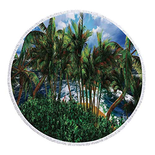iPrint Thick Round Beach Towel Blanket,Hawaiian Decorations,Hawaii Island Palm Trees Forest Greenery Cloudy Summer Sky Sunlight Seascape,Multi-Purpose Beach Throw by iPrint
