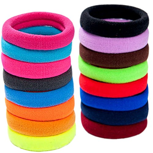 LiveZone 40-Pack High Elastic Colorful Nylon Seamless Stretch Hair Ties Bands Rope Ponytail Holders Headband Scrunchie Hair Accessories for Ladies Women Girls DIY Hairstyle ,Assorted Color-4.2cm (Nylon Hair Band)