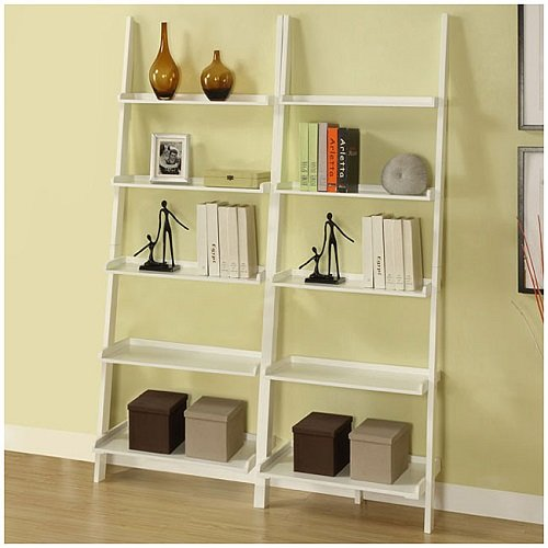 Cool Decorative White 5 tier 2 piece Leaning Ladder Bookcase Bookshelf Shelf Set