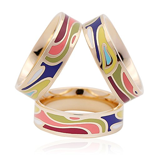 SHAN LI HUA Enamel Silk Scarves Ring Pin Women's Scarf Accessories 3 Rings Multi color ()