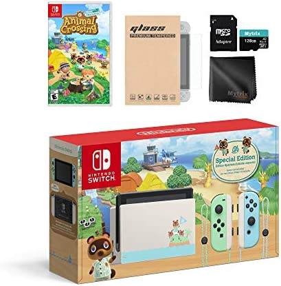 Animal Crossing Switch Console Holiday Combo: Switch Limited 32GB Console, Animal Crossing New Horizon Game, with Mytrix Switch Accessories Kit
