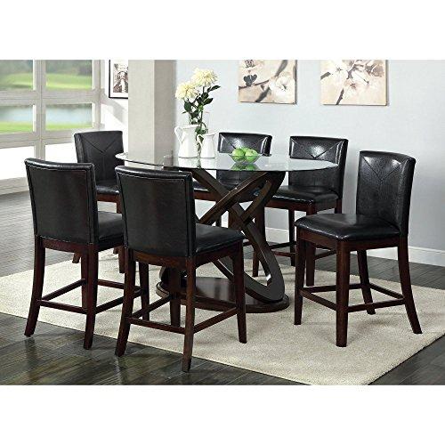 Furniture of America Ollivander Counter Height Glass Top Dining Table - Dark Walnut