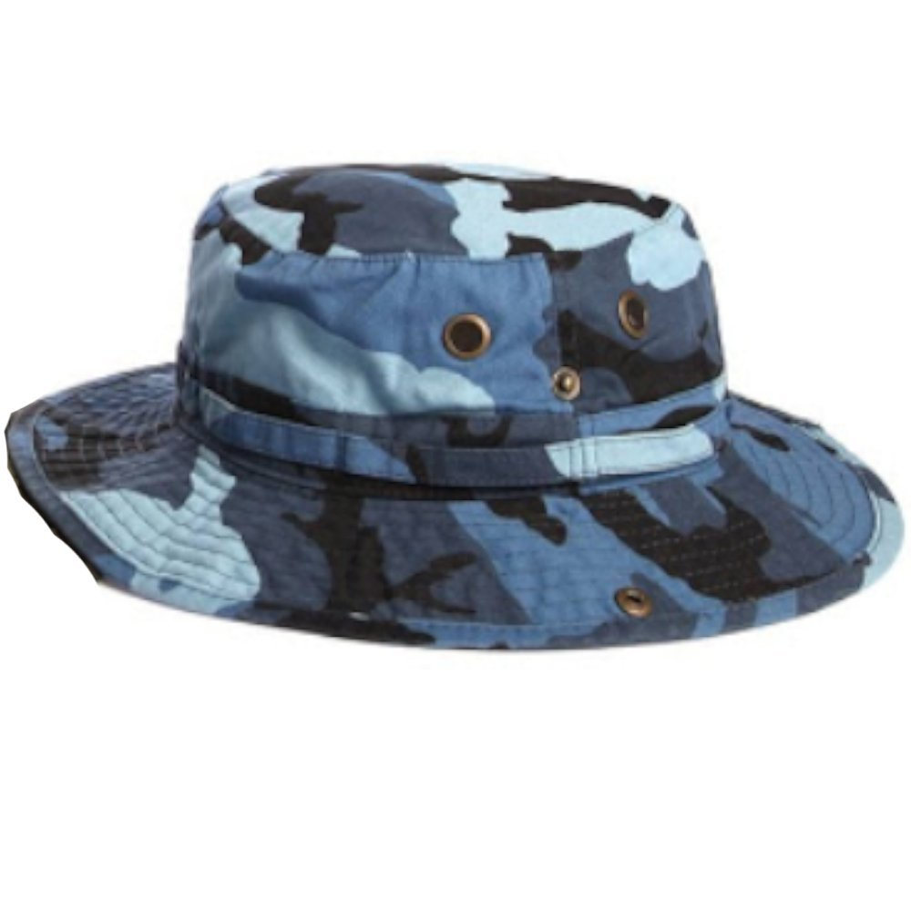100% Cotton Boonie Fishing Bucket Hat with String-Blue Camo-L/XL