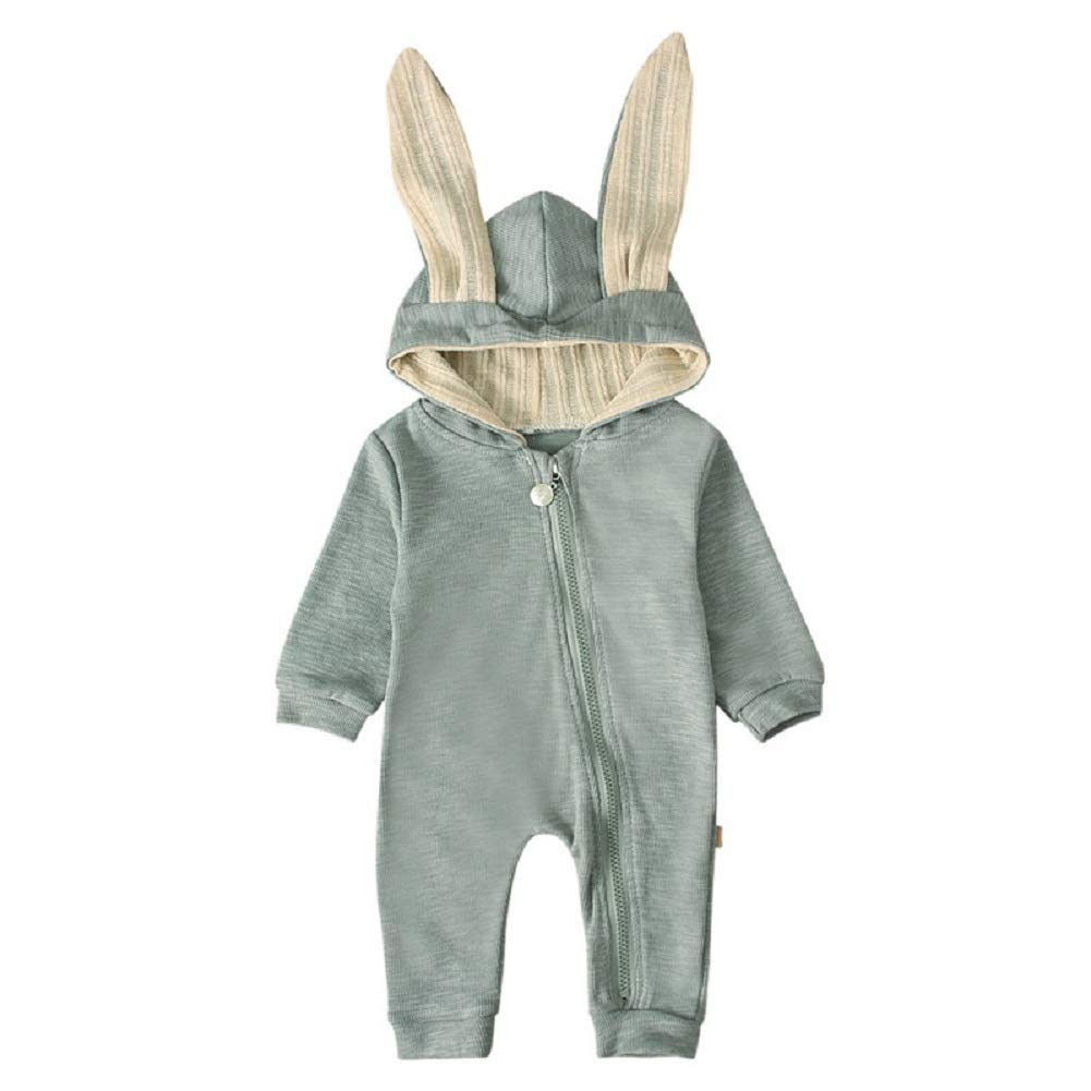 HBER Newborn Baby Toddler Boys Girls Zipper Hoodie Romper Jumpsuit Outfit Long Sleeve Rabbit Ear Organic Cotton Clothes