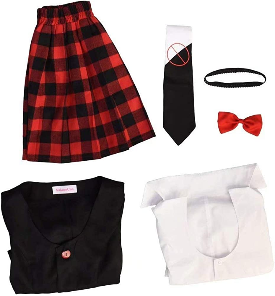 Not applicable Danganronpa Junko Enoshima Cosplay Costume High School Giacca Cappotto Tie Top Gonna Uniform Outfit Cosplay Costume per Donne//Ragazze