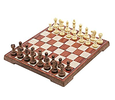 "Chess Set, Instecho Family Classic Chess with Magnet Closure, Portable Folding Interior Storage Checkers Board Game (11"" x 10"" x 1"")"