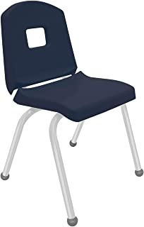 "product image for Creative Colors 1-Pack 16"" Kids Preschool Stackable Split Bucket Chair in Navy with Platinum Silver Frame and Ball Glide"
