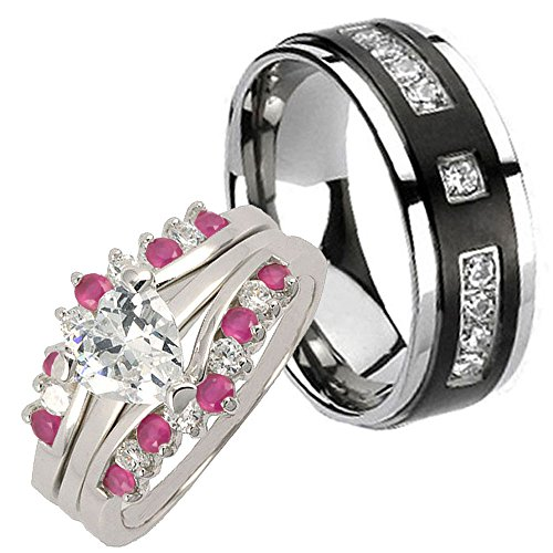4 pcs Bride 2.6CT Sterling Silver Heart CZ Black Middle Titanium Groom Wedding Ring Set Sz9,12 - Wedding Rings For Bride And Groom