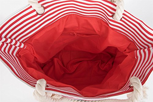 Avec blanc Stylebreaker marine blanc rose Shopper À D`ancre Motif 02012038 Besace Femmes De Plage Couleur Marine Sac Rouge Rayures 6XRwOXTr