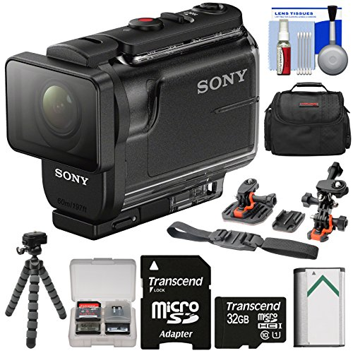 Sony Action Cam HDR-AS50 Wi-Fi HD Video Camera Camcorder with 32GB Card + Battery + Case + Flex Tripod + Flat Surface & 2 Helmet Mounts + Kit by Sony