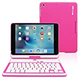 iPad Mini 4 Keyboard, Snugg [Pink] Wireless Bluetooth Keyboard Case Cover 360° degree