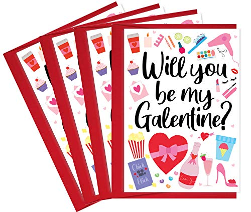 4 Happy Galentines Day Cards for Friends with Red Envelopes