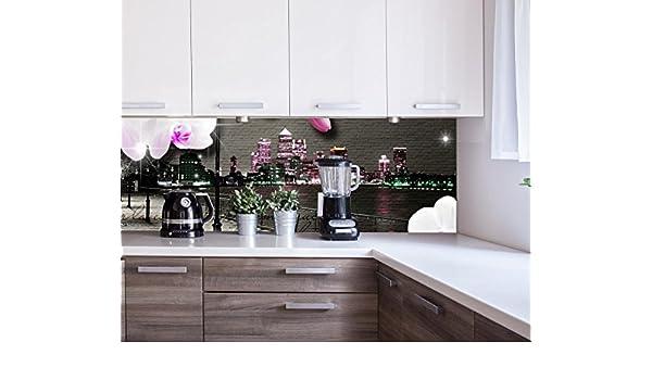wandmotiv24 Cocina pared trasera Clinker - flores del vintage modernas Design M0549 180 x 60 cm (W x H) - 3 mm de espuma Pared trasera cocina foto foto ...