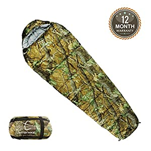 Hitorhike Mummy Sleeping Bag 0 Degree With Carry Bag Portable 4 Season Camping Hiking Traveling Backpacking Extreme Weather Sleeping Bag Lightweight Camo Camping Sleeping Bag