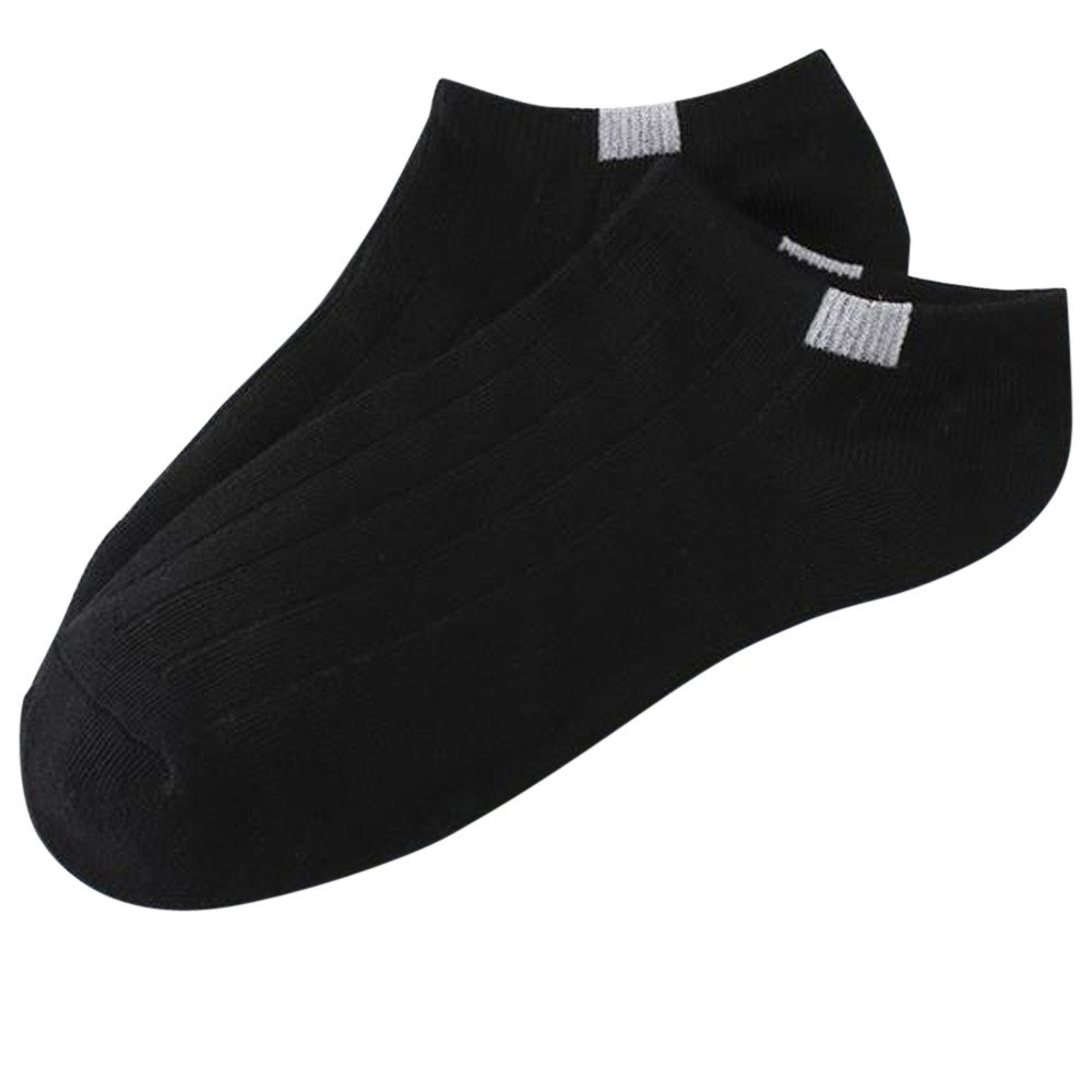 Yamally_9R_Unisex Shoes 1Pair Unisex Sock Comfortable Stripe Cotton Slippers Short Ankle Elasticity Socks Solid Color Socks (Black )